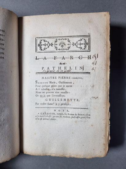 PATHELIN. La Farce de maistre Pierre Pathelin, avec son testament à quatre personnages....