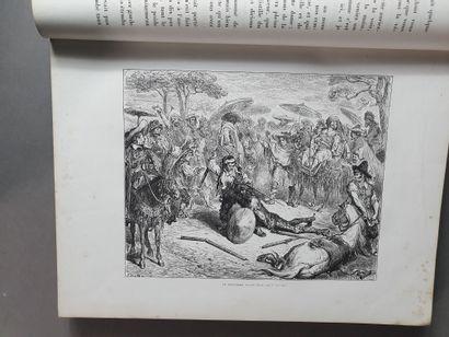 CERVANTÈS (Miguel de). Don Quixote. Paris, Hachette, 1869. 2 volumes in-folio, red...