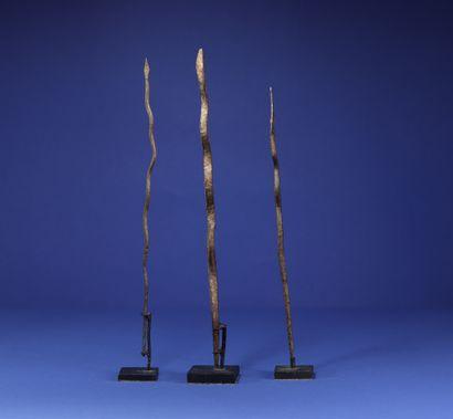 Lot de trois fers votifs en forme de serpent. Lobi, Burkina Faso. H. 29 cm, 32 cm...