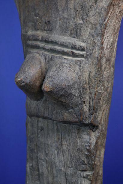 Imposant poteau de case à palabre toguna sculpté en « Y » et figurant en son centre...