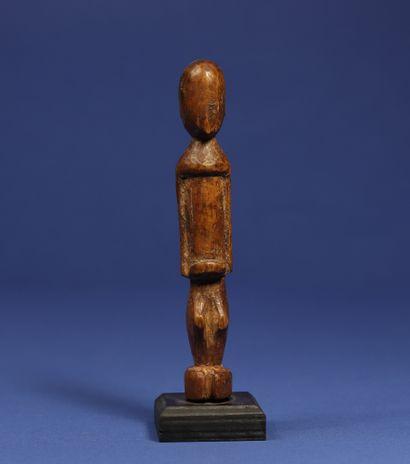 Charmante statuette janus. Bois à patine miel. Lobi, Burkina Faso. H. 14,5 cm. Provenance...