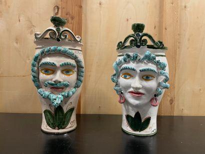 Antonino PISCITELLO Two vases In ceramic Signed H. 48 and 45 cm.