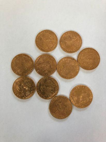Lot de pièces d'or comprenant 10 pièces de 20 F or au coq de Chaplain de 1912