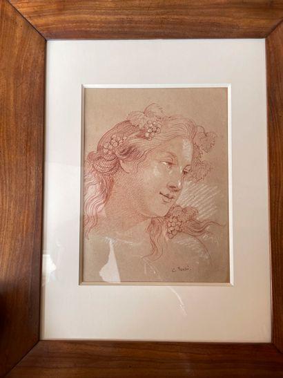 Etude pour une tête de femme Sangine et rehauts de craie blanche Porte une signature...