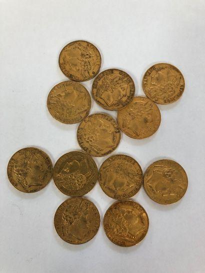 Ensemble de 12 pièces de 20 F or Cérès