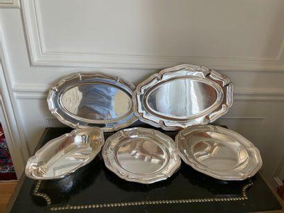 Lot de métal argenté comprenant Cinq plat...