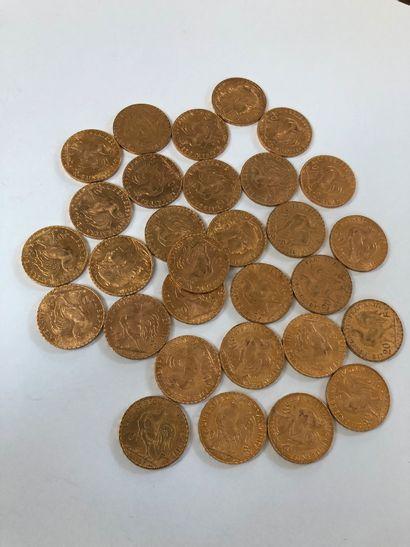 Lot de pièces d'or comprenant 30 pièces de 20 F or au coq de Chaplain de 1907