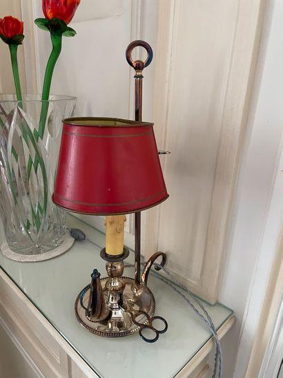 Encrier en métal argenté A deux bras de lumière Monté en lampe Manque le contenant...