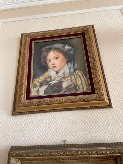 Portrait de jeune fille Pastel sur papier...
