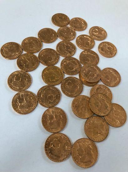 Lot de pièces d'or comprenant 30 pièces de 20 F or au coq de Chaplain 1910x12 ;...