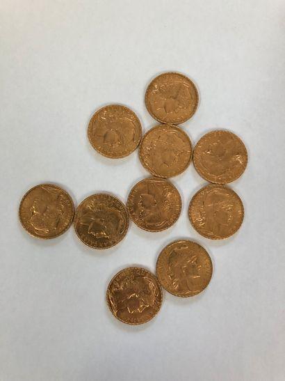 Lot de pièces d'or comprenant 10 pièces de...