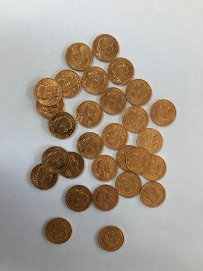 Lot de pièces d'or comprenant 29 pièces de...
