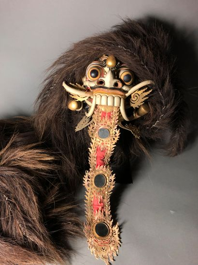 Indonésie- Bali Topeng dance spirit mask in polychrome wood, decorated with a long...