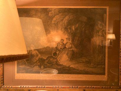 """Ecole française du XVIIIème Set of three black engravings. """"Scènes de genre""""."""