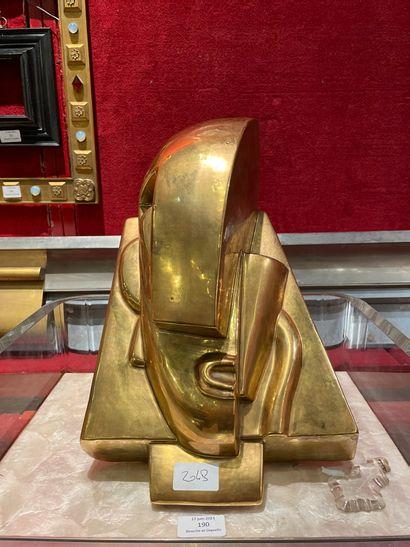 D'après Joseph CSAKY Tête en céramique glaçurée...