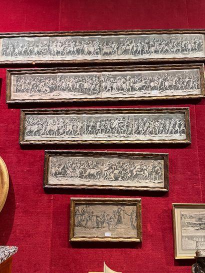 Belle suite de gravures Composition en frise à l'antique Figurant un défilé commémoratif...