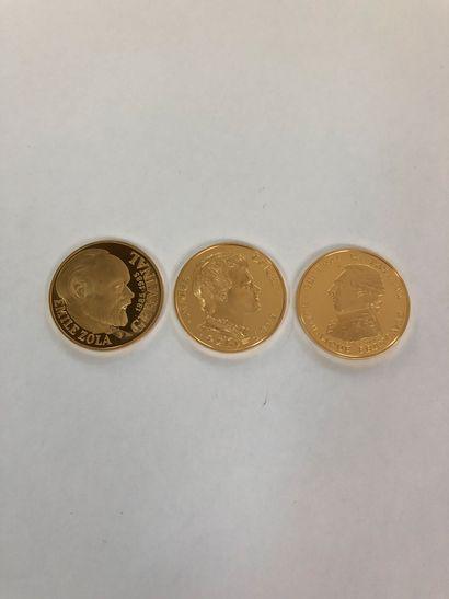 Ensemble de 3 pièces d'or : 100 francs Lafayette...