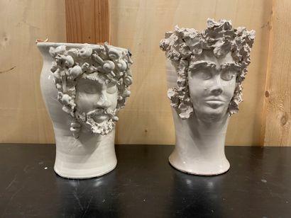 Antonino PISCITELLO Two vases In glazed ceramic Signed H. 28.5 and 33.5 cm. Accidents...