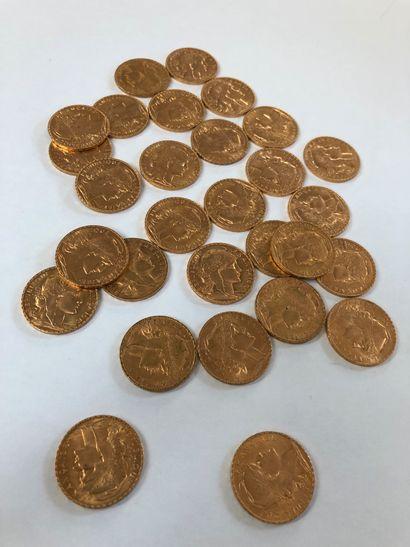 Lot de pièces d'or comprenant 29 pièces de 20 F or au coq de Chaplain 1908x20 ;...