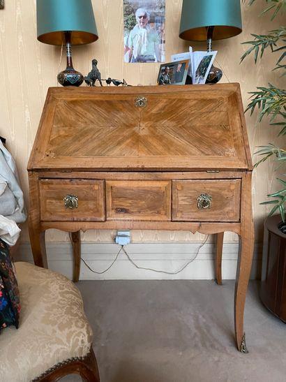 Bureau de pente En bois de placage A décor...