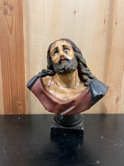 Christ in bust In wax and patinated plaster H. 42 cm.