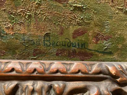 """BEAUDUIN Jean (1851-1916) Huile sur toile. """"Paysage de campagne"""". Signée en bas à..."""
