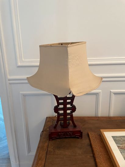 ASIE Set of two carved wood lamps with red lacquered finish