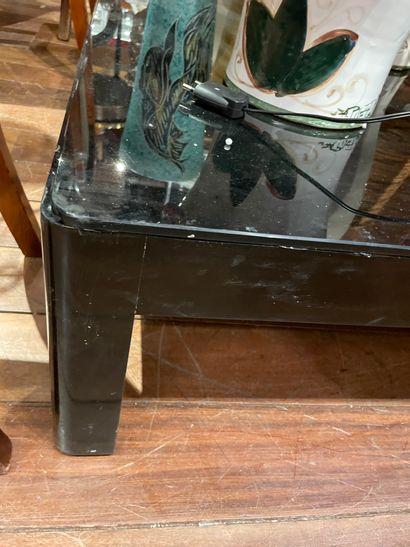 Grande table basse En bois laqué noir Plateau...