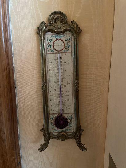 Thermomètre en bronze ciselé doré H 32 c...