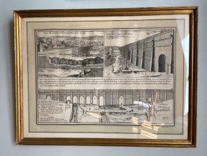 Set of 8 engravings Including Van Loo, gouache view XVIIIth century and various...