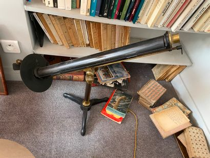 "POLARIMETRE - LAURENT Astronomical telescope In brass and steel Signed ""Laurent Successeur..."