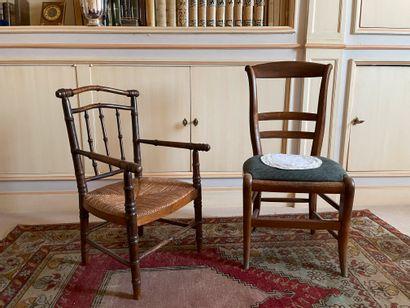 Ensemble d'un fauteuil et d'une chaise Le...