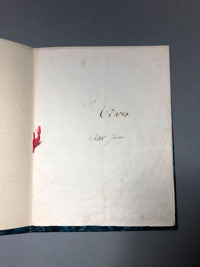 Manuscript titled Rêves, in brown ink, dated January 1838 With a false mention of...