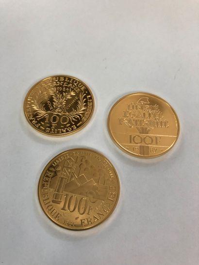 Set of 3 gold coins : 100 francs Lafayette 1987 in gold 920°°° P.17g 100 francs...