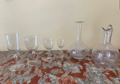 Crystal service Including different sizes of glasses and champagne flutes and decanters...