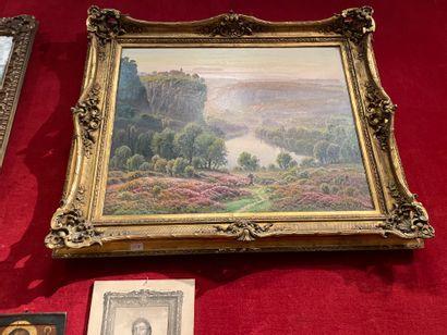 Gaston ANGLADE Mountainous landscape Oil on canvas Signed 73x92 cm.