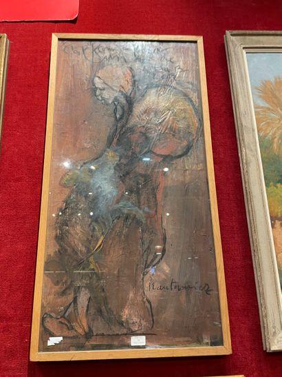 Serge KANTOROWICZ (1942) Sans titre Pastel sur papier 100x49.5 cm.