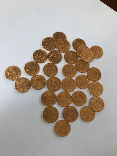 Lot de pièces d'or comprenant 30 pièces de 20 F or au coq de Chaplain de 1908