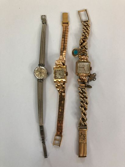 18 carat yellow gold wristwatch P.36,5g Two other gold-plated ladies' wristwatches...