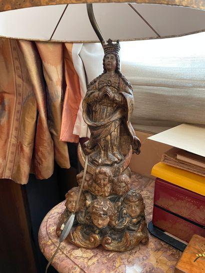 Vierge En bois sculpté doré Montée en lampe...
