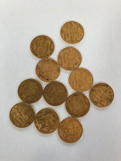 Lot of 12 coins of 20F gold to the Genie