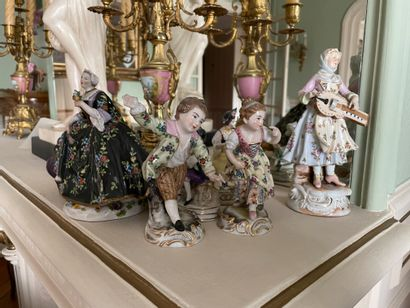 Suite of polychrome porcelain subjects and groups In the taste of 18th century Saxon...