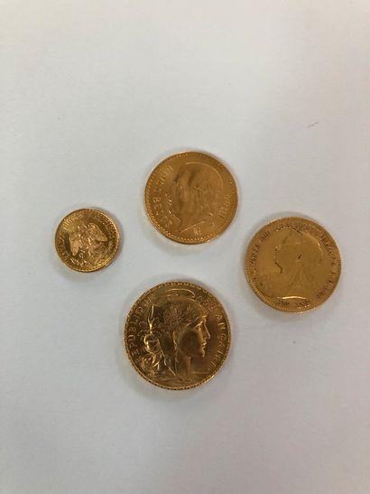 Ensemble de quatre pièces d'or comprenant: 1 pièce de 20F or au coq de Chaplain...