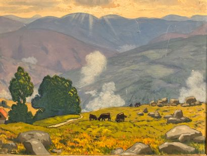 Maurice CHABAST Paysage aux vaches Huile...