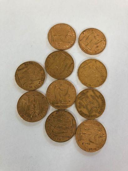 Lot de 10 pièces de 20F or au Génie