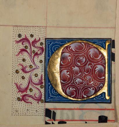 Trois initiales ornées extraites d'un livre de choeur (graduel ou antiphonaire ?)...
