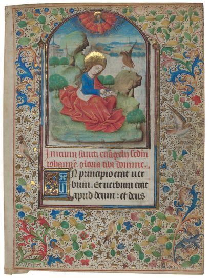 Maître du Missel de Troyes Feuillet extrait d'un livre d'heures, début des Péricopes...
