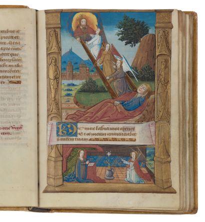 Livre d'heures (à l'usage de Rome). En latin et en français, manuscrit enluminé...