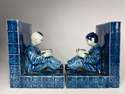 CHINE Enfants à la lecture Paire de serre-livres...
