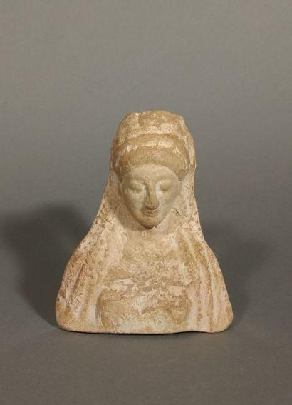 Veiled female protome  Orange terracotta...